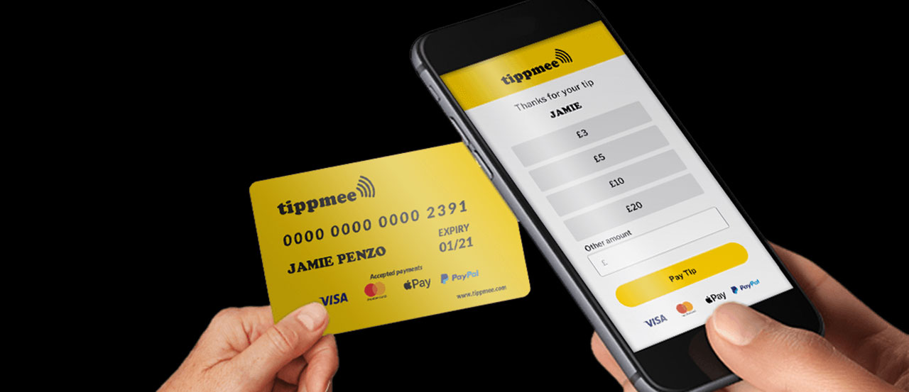 tippmee app on an iphone and a card used for payment
