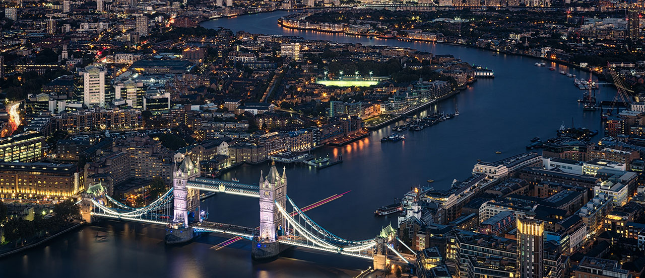 Tower Bridge, the Thames and Central London at night
