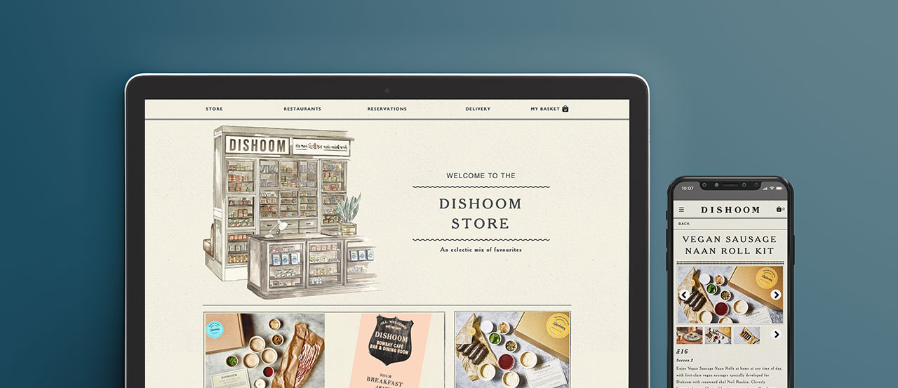 Dishoom new e-commerce store on a macbook and an iphone screen