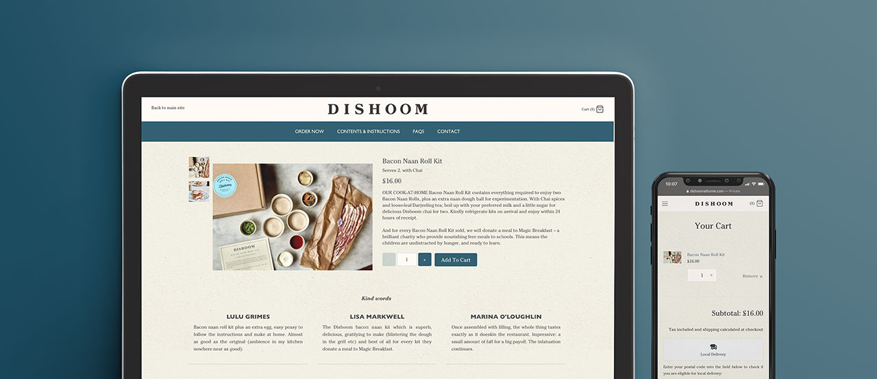 View of Dishoom e-commerce store and card on a macbook and an iphone