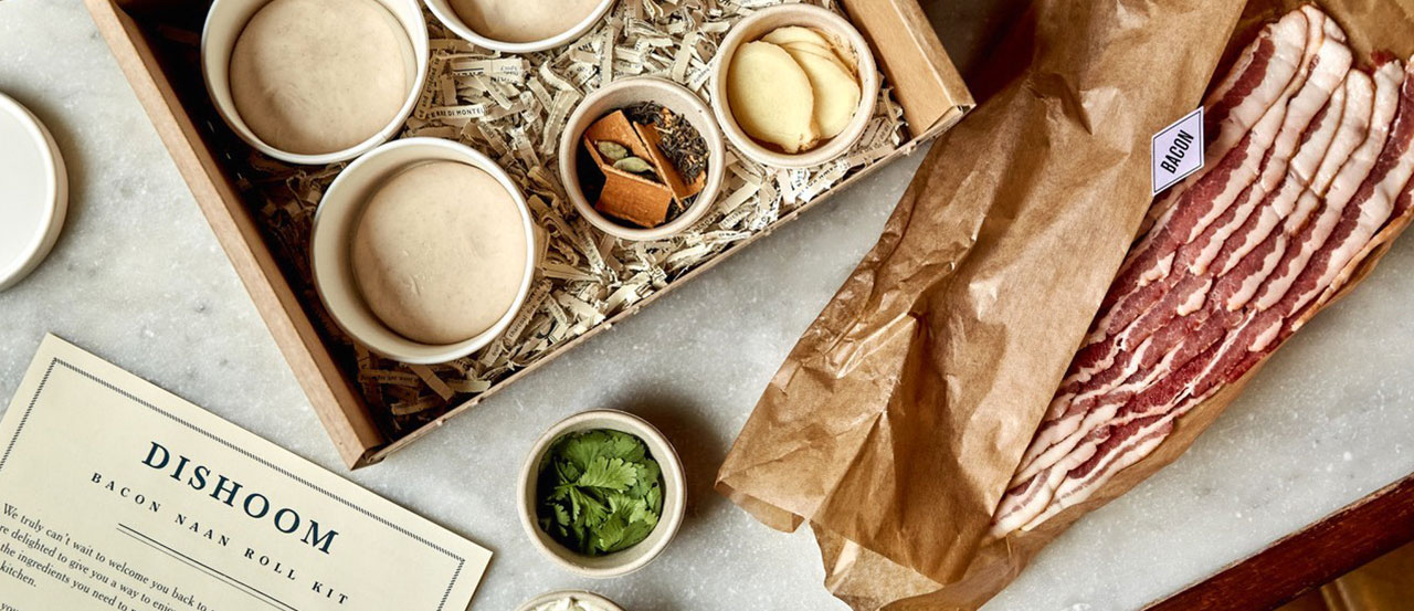 Dishoom Bacon Naan roll kit ingredients and an open delivery box
