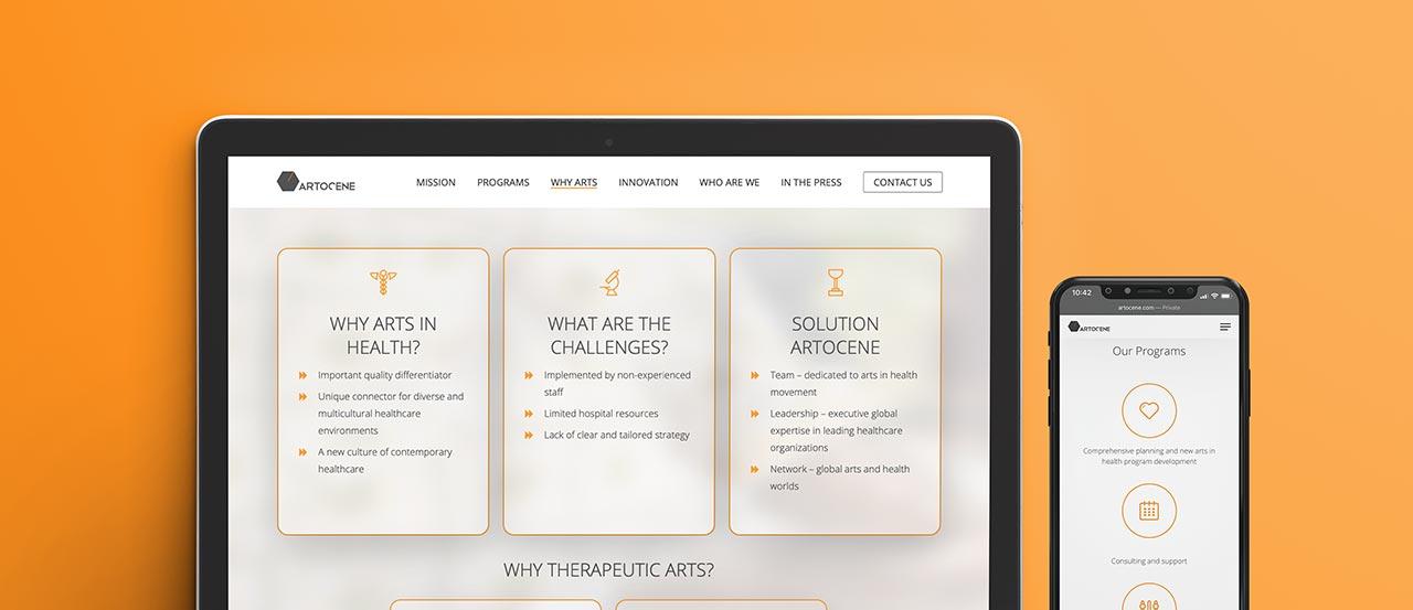 Screen view of Artocene platform on a macbook and an iphone