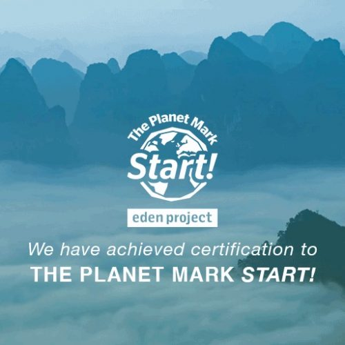 The Planet Mark Start Eden project Logo with text 'We Have achieved certification to The Planet Mark Start!'