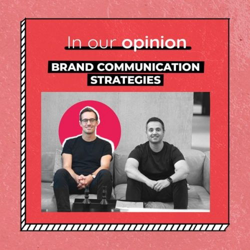 """The two founders of WeAgile next to each other, above them is their podcast title """"In Our Opinion, Brand Communication Strategies"""""""