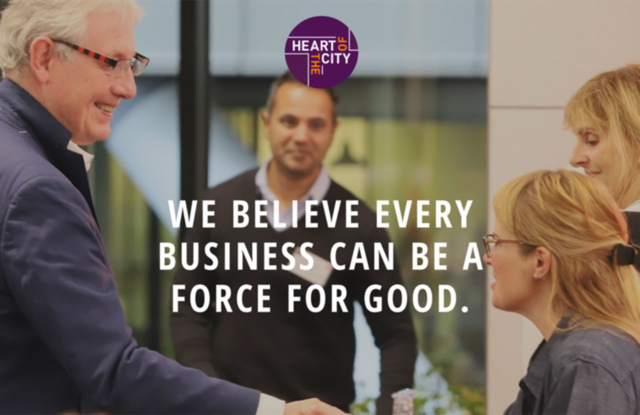 Heart of The City logo and text We Believe Every Business Can Be A Force For Good