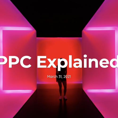 PPC specialist in a neon pink corridor