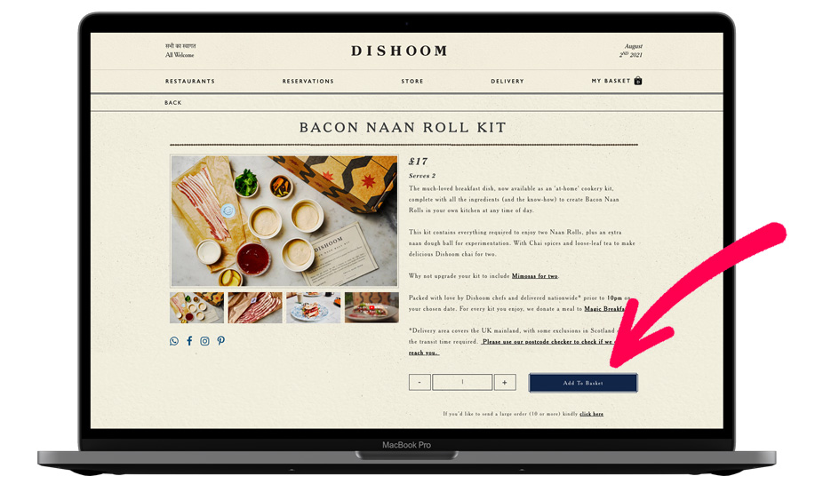Dishoom Website Call To Action